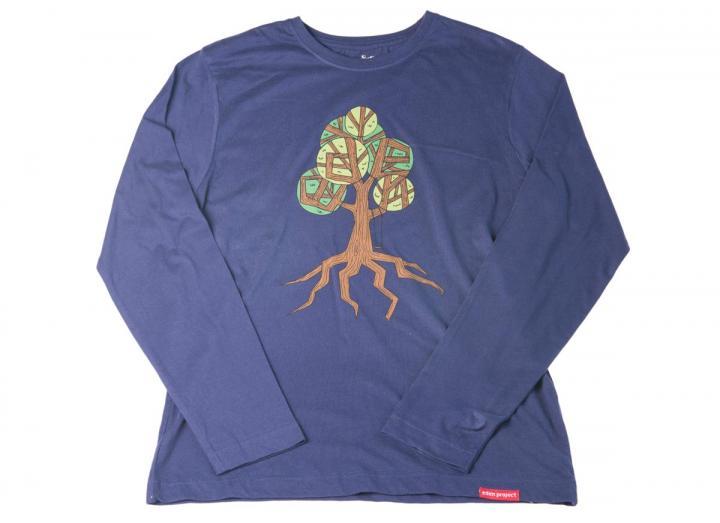 Mens long sleeve tree print t-shirt navy