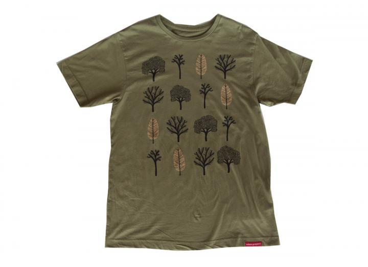 Mens tree repeat t-shirt olive green