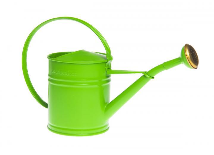 Mini green metal watering can