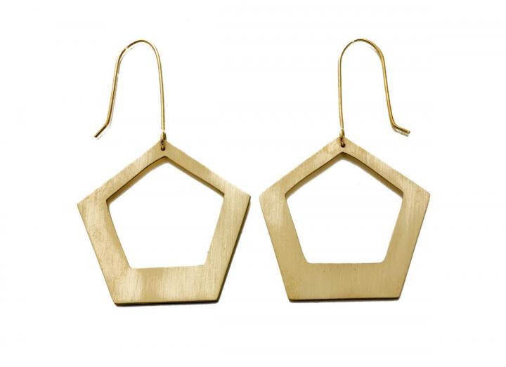 Brass pentagon earrings