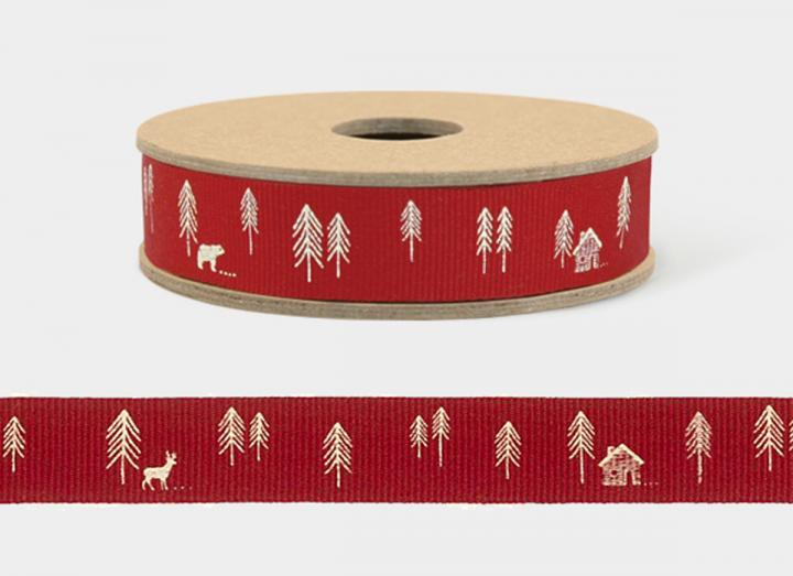 Pine forest red ribbon