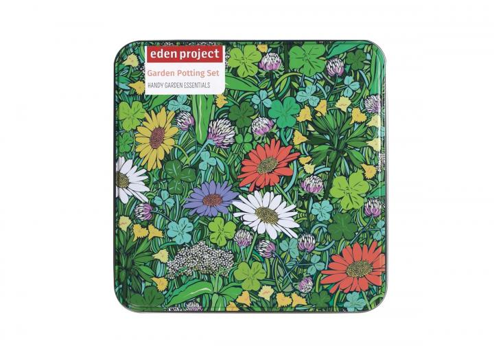 Floral gardening potting set tin