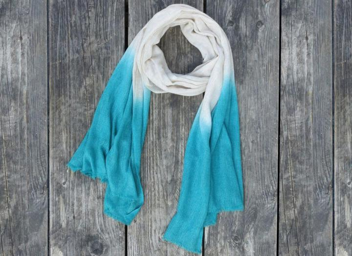 Dip dye scarf cream and teal