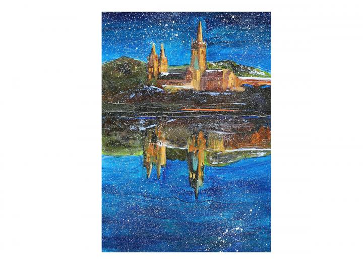 Snowy Truro cathedral card