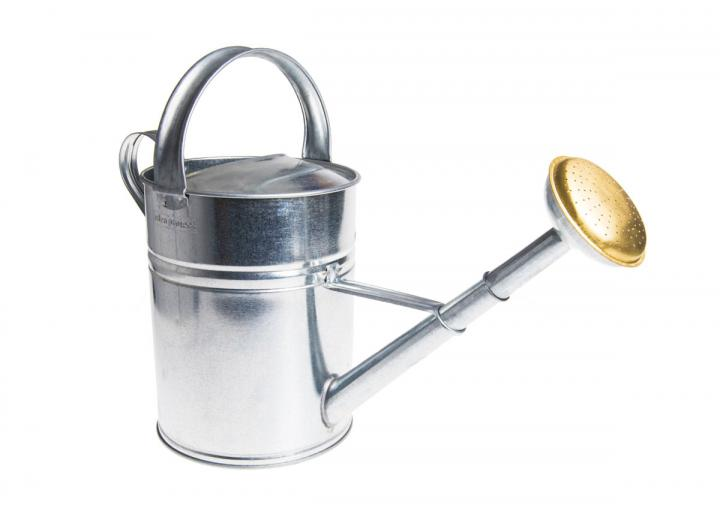 Tall galvanised metal watering can