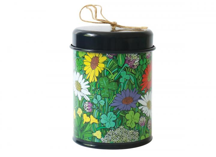 Twine in a floral pattern tin