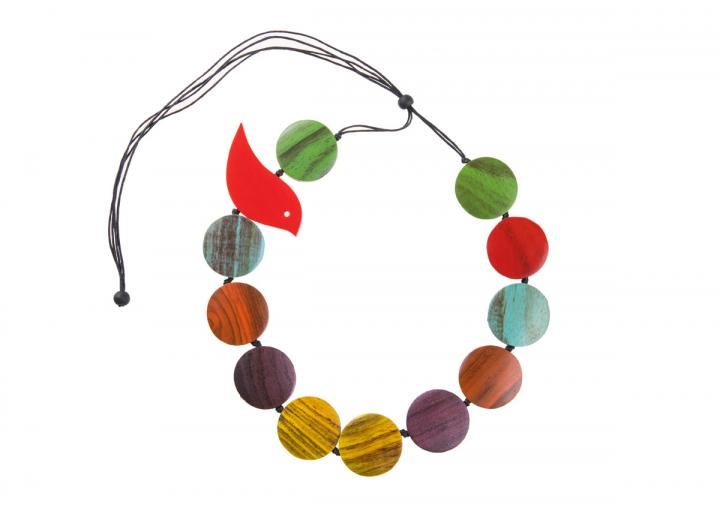 Wooden disc and bird necklace