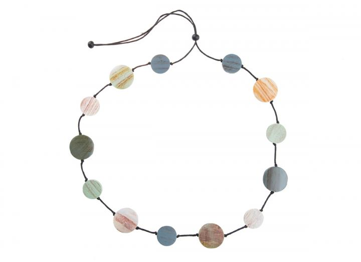 wooden disc stepping stone necklace