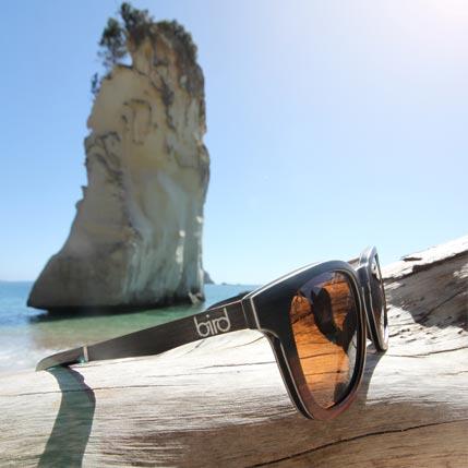 Sunglasses by a beach